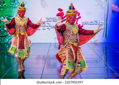 ANDONG , SOUTH KOREA - OCT 01 : Thai dancers performing the traditinal Thai Khon dance at the Mask dance festival in Andong South Korea on October 01 2018