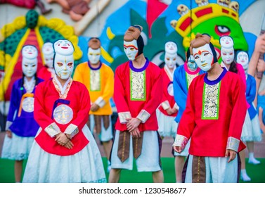 ANDONG , SOUTH KOREA - OCT 02 : Performers with mask at the Andong Mask dance park during the Andong Mask Dance festival in Andong South Korea on October 02 2018