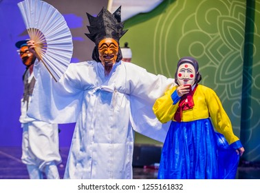 ANDONG , SOUTH KOREA - OCT 02 : Korean folk dancers perform at the Maskdance festival  in Andong South Korea on October 02 2018