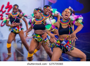 ANDONG , SOUTH KOREA - OCT 03 : South African dancers from Amazebra Folklore Dance Ensemble perform at the Maskdance festival held in Andong South Korea on October 03 2018