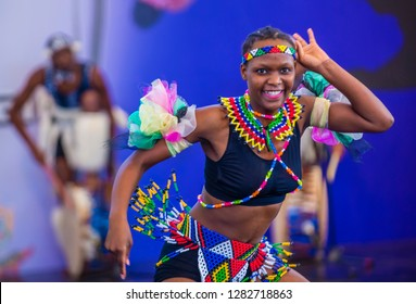 ANDONG , SOUTH KOREA - OCT 03 : South African dancer from Amazebra Folklore Dance Ensemble perform at the Maskdance festival held in Andong South Korea on October 03 2018
