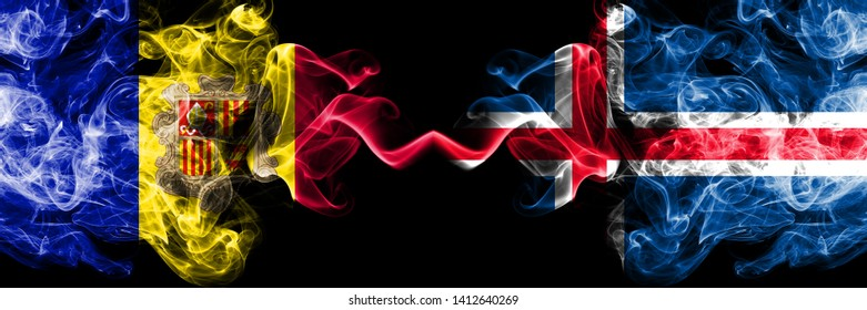 Andorra, Andorran, Iceland, Icelandic competition thick colorful smoky flags. European football qualifications games