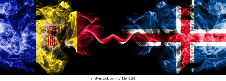 Andorra, Andorran, Iceland, Icelandic, flip competition thick colorful smoky flags. European football qualifications games