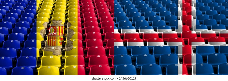 Andorra, Andorran, Iceland, Icelandic, flip stadium seats concept. European football qualifications games.