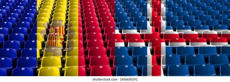 Andorra, Andorran, Iceland, Icelandic stadium seats concept. European football qualifications games.