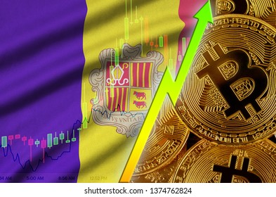 Andorra flag and cryptocurrency growing trend with many golden bitcoins