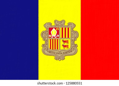 Andorra flag drawing by pastel on charcoal paper