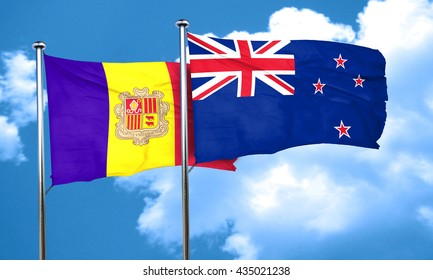 Andorra flag with New Zealand flag, 3D rendering