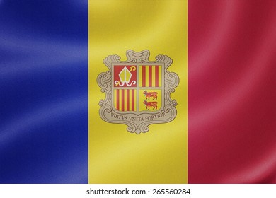 Andorra flag on the fabric texture background