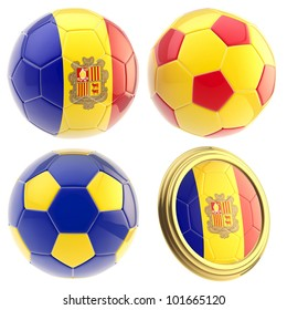 Andorra football team set of four soccer ball attributes isolated on white