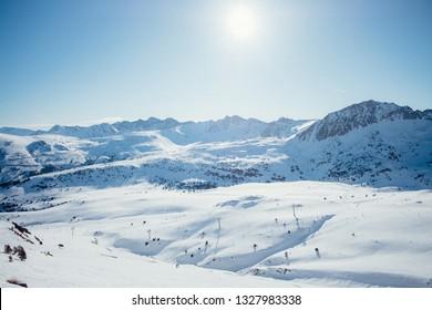 Andorra GrandValira Ski. Pyrenees Mountains
