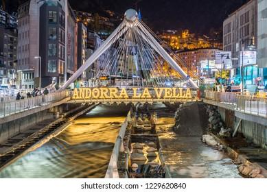 Andorra La Vella, Andorra : 2018 November 10 : Paris Bridg,  Cityscape of Andorra la Vella, Andorra