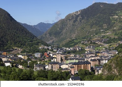 Andorra La Vella in the autonomous principality of Andorra in the Pyrenees, between France and Spain. Andorra is a prosperous country because of its tourism industry and its status as a tax haven.
