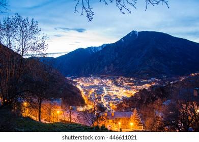 Andorra la Vella evening cityscape in Andorra la Vella, Andorra