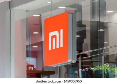 Andorra la Vella, Andorra - June 3, 2019: Logo of Xiaomi on retail store in Andorra. Xiaomi is a Chinese electronics company headquartered in Beijing.
