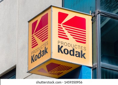 Andorra la Vella, Andorra - June 3, 2019: Logo and sign of Kodak. Kodak Company is an American technology company that produces camera-related products with its historic basis on photography.