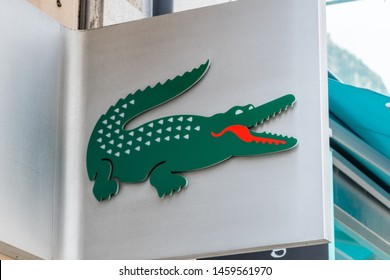 Andorra la Vella, Andorra - June 3, 2019: Logo of Lacoste. Lacoste is a French company, founded in 1933 by tennis player Rene Lacoste and Andre Gillier.