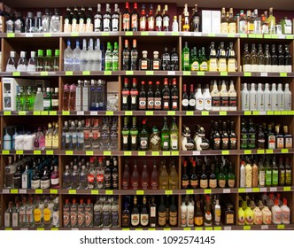 ANDORRA LA VELLA, ANDORRA. March 17, 2015: Shelves with countless bottles of wine in a wine shop in the city center of La Vella in Andorra.