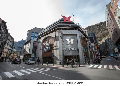 ANDORRA LA VELLA, ANDORRA. March 18, 2015: Shopping center Pyrenees building on the main road in the city of Andorra la Vella in Andorra. Wide view and daylights.