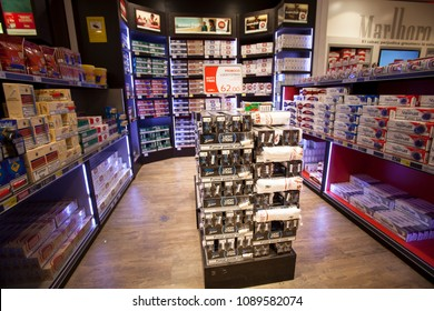 ANDORRA LA VELLA, ANDORRA. March 18, 2015: Store of cigarettes inside a shop in the city center of La Vella in Andorra. Display shelves of different types of cigarettes.