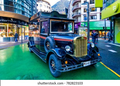 ANDORRA LA VELLA / ANDORRA – NOVEMBER 9, 2012: Retro car on a street.