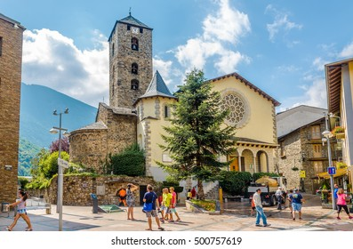 ANDORRA LA VELLA,ANDORRA - AUGUST 29,2016 - Church of Saint Esteve in Andorra la Vella. Andorra is the capital of the Principality of Andorra, and is located high in the east Pyrenees .