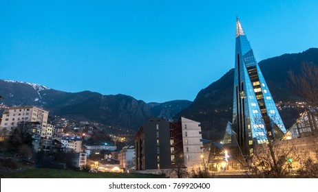 "Andorra night view. mountain and city mixes in a magical way. The pyramid is the ""Caldea Spa"""