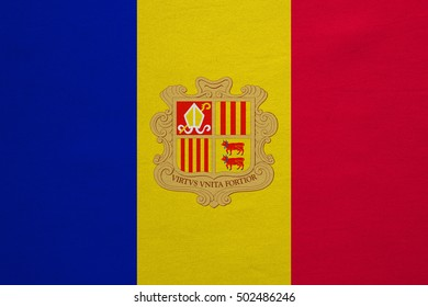 Andorran national official flag. Patriotic symbol, banner, element, background. Correct colors. Flag of Andorra with real detailed fabric texture, accurate size, illustration