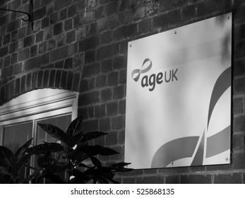 Andover, Bridge Street, Hampshire, England - November 29, 2016: Age UK charity shop, providing assistance to senior citizens