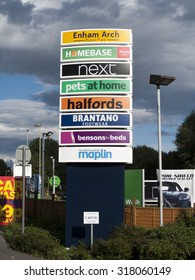 Andover, Enham Arch, Retail Park, Hampshire, England - September 18, 2015: Homebase, Sign at approach to retail park indicatng shops