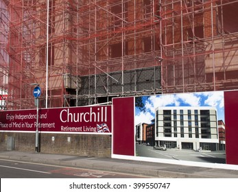 Andover, Hampshire, England - April 1, 2016: Churchill Retirement Living, retirement apartment construction site development
