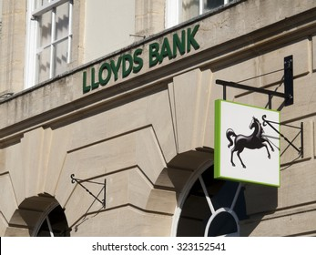 Andover, High Street, Hampshire, England - October 2, 2015: Lloyds local bank branch, British retail and commercial bank, originally founded in 1765