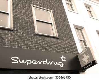 Andover, High Street, Hampshire, England - October 22, 2015: Superdrug chemists sign over premises, trades from over 850 stores across the UK and Ireland