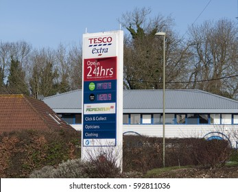 Andover, River Way, Hampshire, England -March 04, 2017: Tesco Extra Superstore, petrol and diesel pump price sign