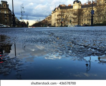Andrassy avenue Budapest after rain