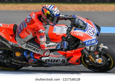 Andrea Dovizioso no.4 of Italy and Ducati Team in qualifying during The PTT Thailand Grand Prix - MotoGP at Chang International Circuit on October 6, 2018 in Burirum ,Thailand