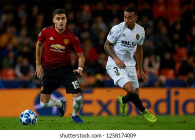 Andreas Pereira of Manchester United and Ruben Vezo of Valencia during the match between Valencia CF and Manchester United at Mestalla Stadium in Valencia, Spain on December 12, 2018.