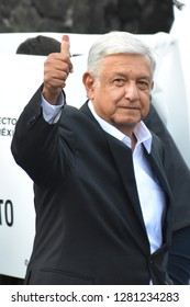 Andres Manuel Lopez Obrador of (MORENA) arriving for give their vote  as part of the Mexico 2018 Presidential Election  on July 1, 2018 in Mexico City,