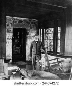 Andrew Carnegie in his golf cottage near St. Andrews Golf Links Westchester Co. N.Y. 1911.