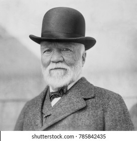 Andrew Carnegie on return from his annual visit to Europe, NYC, Oct. 17, 1913.
