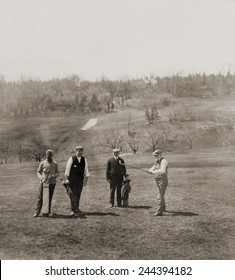 Andrew Carnegie and party on the St. Andrew golf links Westchester County New York. 1911.