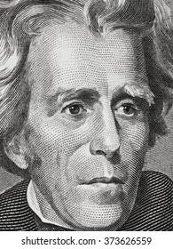 Andrew Jackson face on twenty dollar bill close up macro, 20 usd, united states money closeup