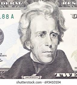 Andrew  Jackson portrait on dollar bill  closeu