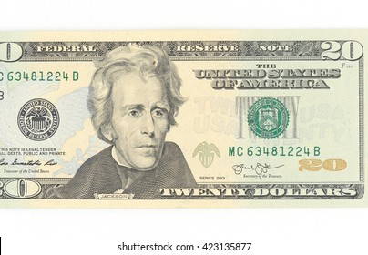Andrew Jackson. Portrait from United States of America 20 Dollars 2003 Banknotes.