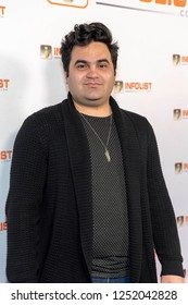 Andrew Reyna attends INFOList.com Red Carpet Re-Launch Party & Holiday Extravaganza! at SKYBAR at the Mondrian Hotel, Los Angeles, California on December 5th, 2018
