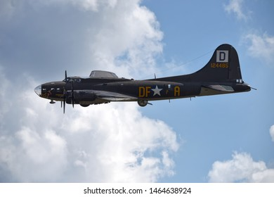 ANDREWS JOINT BASE, MD – SEPTEMBER 16: WWII era airplane (Memphis Belle) flying at the Andrews Joint Base Air Show celebrating the 70th anniversary of the Air Force, on September 16, 2017.