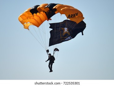 ANDREWS JOINT BASE, MD – SEPTEMBER 16: US Army Golden Knight at the Andrews Joint Base Air Show celebrating the 70th anniversary of the Air Force, on September 16, 2017.