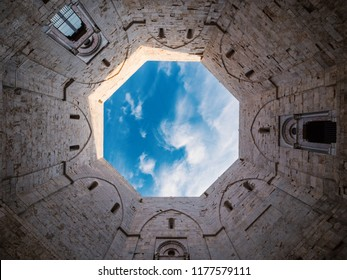 ANDRIA, ITALY - JULY 2018: Castel del Monte inner courtyard with its characteristic octagonal shape. Apulia, Italy
