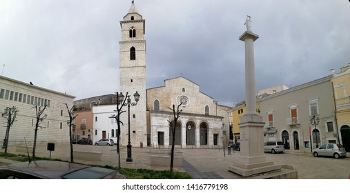 Andria, Puglia, Italy - May 19, 2019: Panoramic photo of the Cathedral of Santa Maria Assunta in Cielo