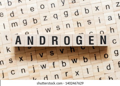 Androgen word concept on cubes